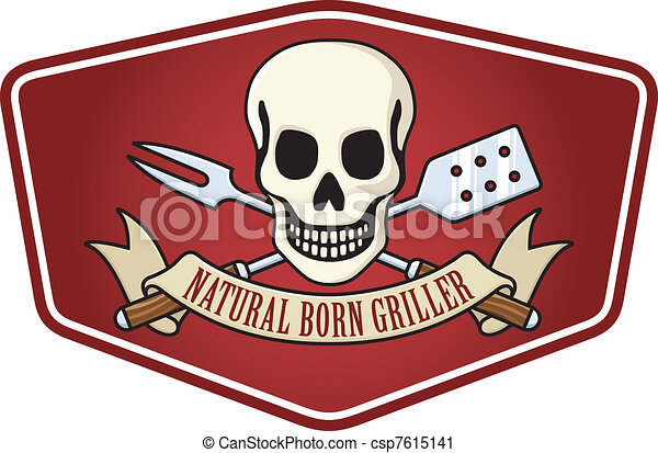 Natural born griller barbecue logo - csp7615141