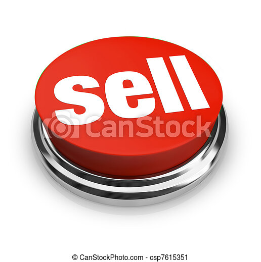 A red button with the word Sell on it, representing how easy it can be to start a business and offer goods or services for sale to customers - csp7615351