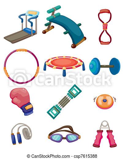 cartoon Fitness Equipment icons - csp7615388