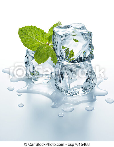ice cubes with mint - csp7615468