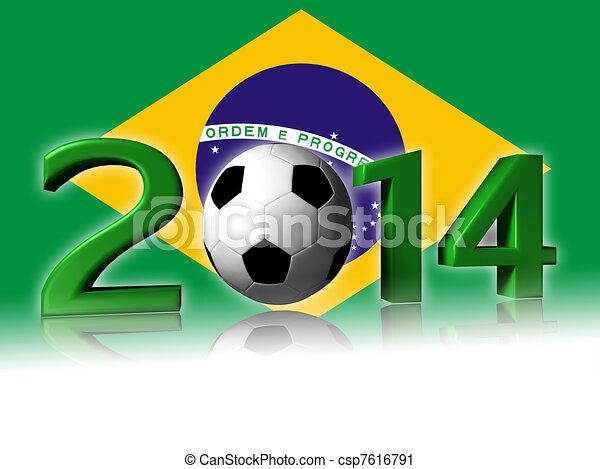 2014 soccer design with brazil flag - csp7616791