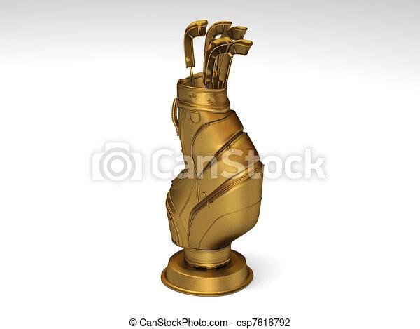 Golden golf trophy - csp7616792