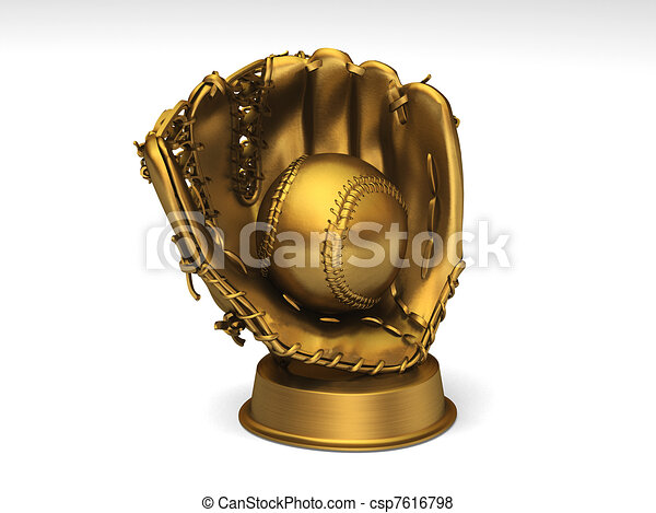 Golden baseball glove with a ball - csp7616798