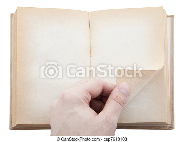 Hand turning old blank book page - csp7618103