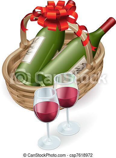 Wicker wine basket - csp7618972
