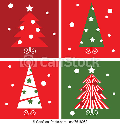 Christmas Trees design blocks icons. Vector illustration in retro style.  - csp7618983