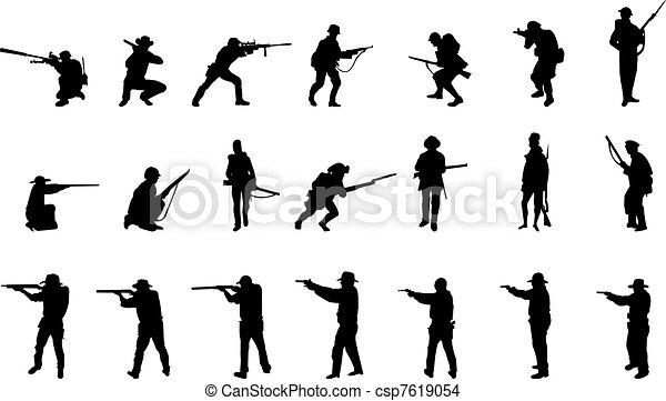 armed men silhouettes - csp7619054