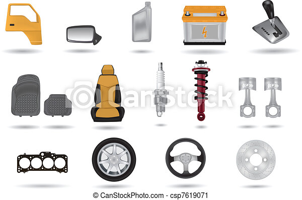 Detailed car parts illustrations se - csp7619071