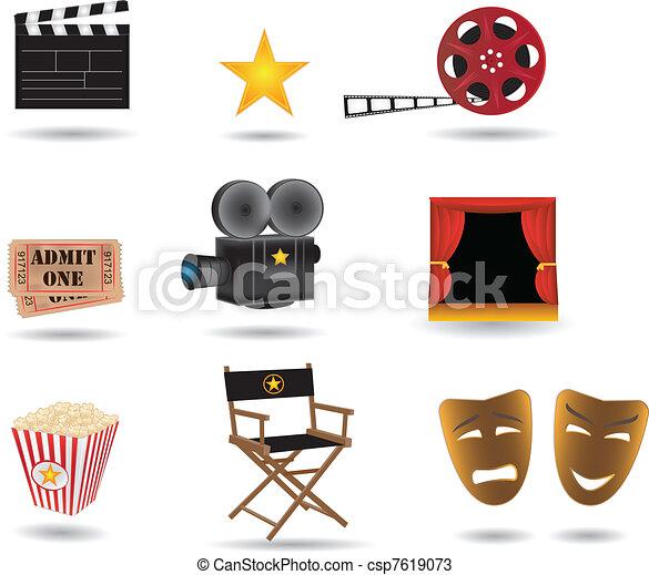 movie vector icons  - csp7619073