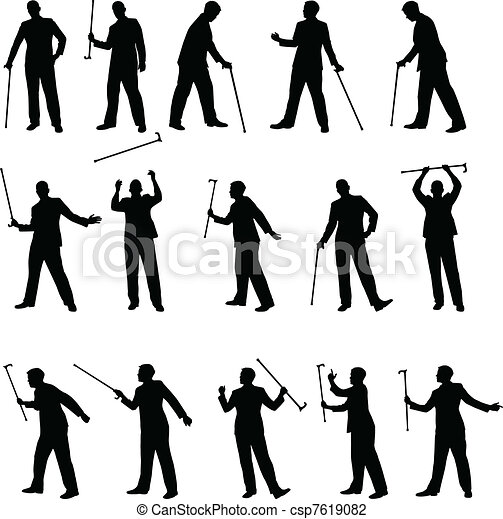 Line art eps picture pictures graphic graphics drawing drawings - Vector Illustration Of Man With A Cane Sillhouettes