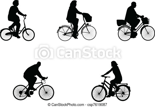 illustrations of bicycle riders  - csp7619087