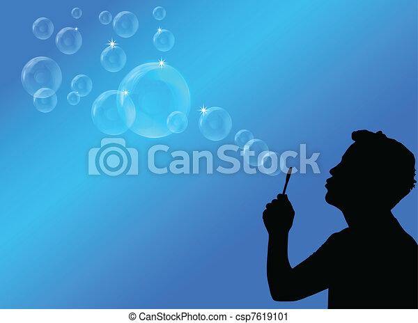 blowing bubbles vector illustration - csp7619101