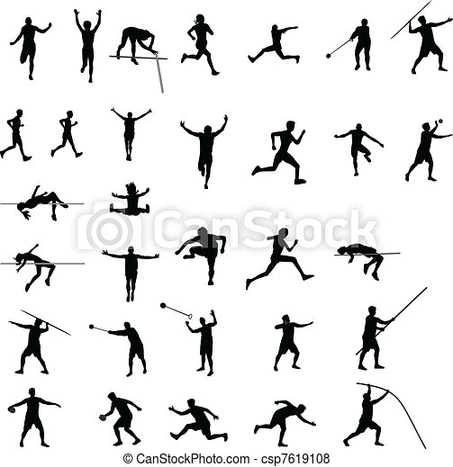 athletics silhouettes  - csp7619108