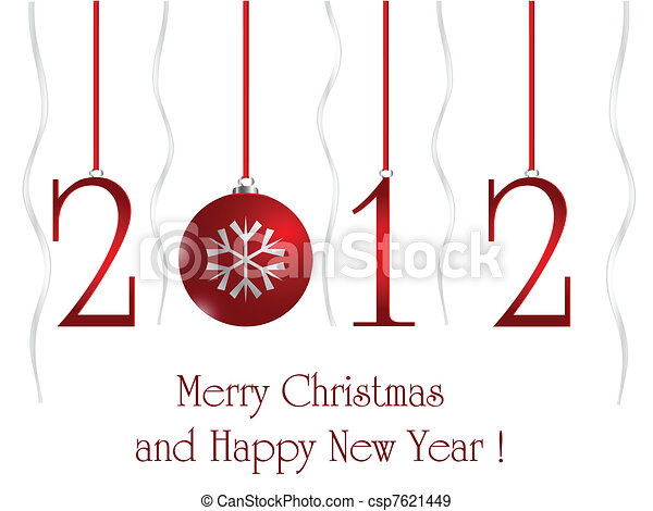 2012 card with xmas ball - csp7621449