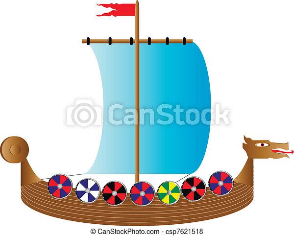 Viking ship on white - csp7621518