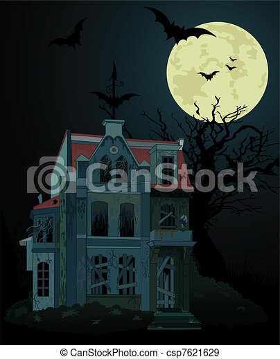 Spooky haunted   house background - csp7621629
