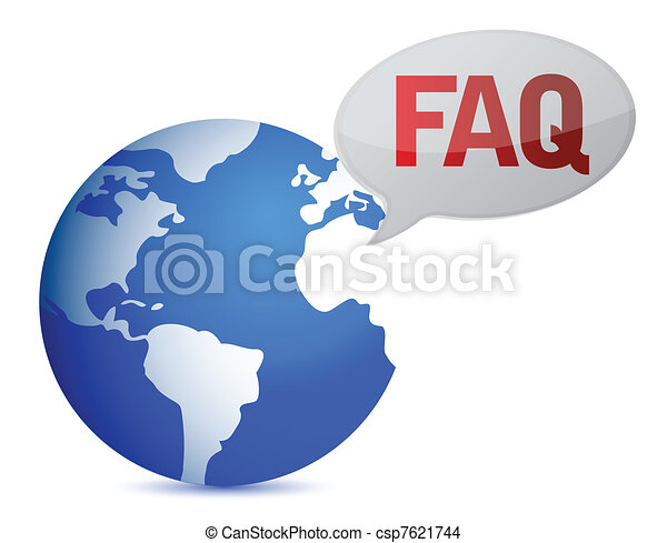 globe with word FAQ in red - csp7621744
