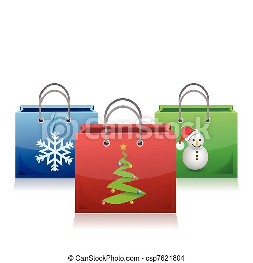 set of Christmas shopping bags - csp7621804