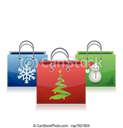 set of Christmas shopping bags - csp7621804