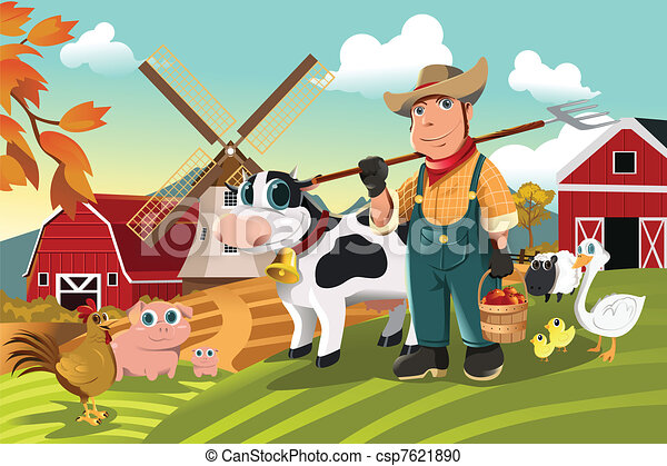 Farmer at the farm with animals - csp7621890