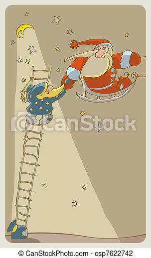 Santa Baby and Santa Adult - csp7622742