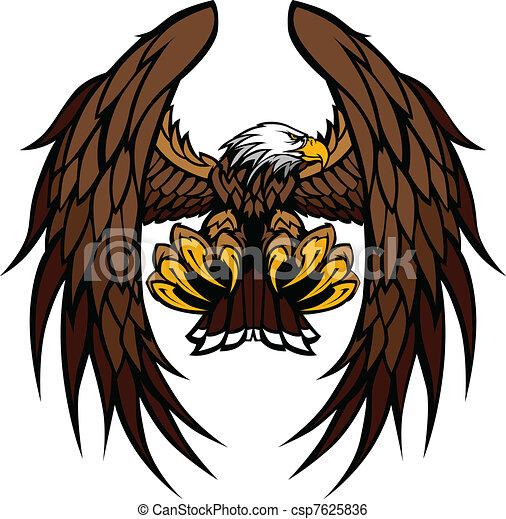 aigle, mascotte, vecteur, Ailes, griffes - csp7625836