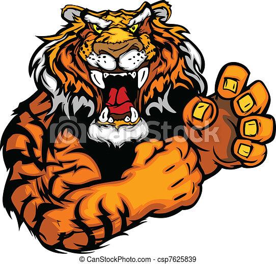 Vector Image of a Tiger Mascot - csp7625839