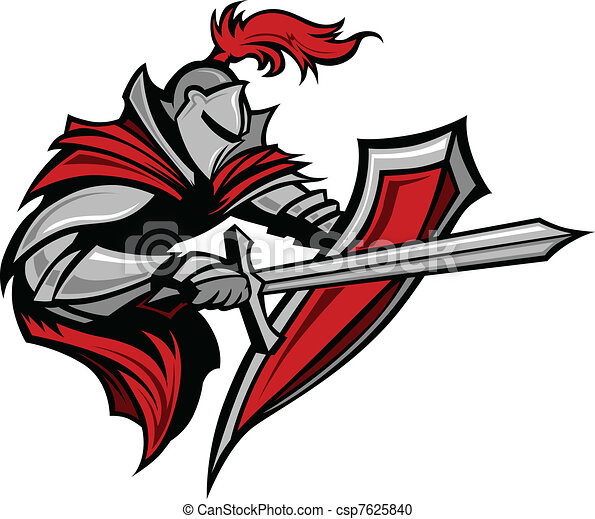 Knight Warrior Mascot Stabbing - csp7625840