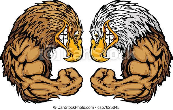 Eagle Mascots Flexing Arms Cartoon - csp7625845