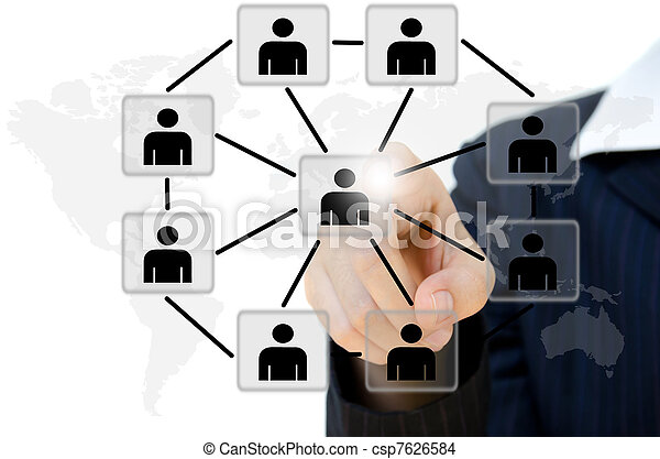 business young pushing people communication social network on  whiteboard. - csp7626584