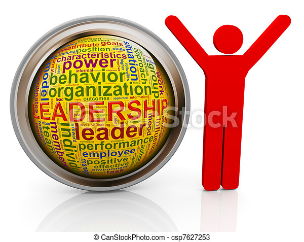 3d man with Leadership wordcloud - csp7627253