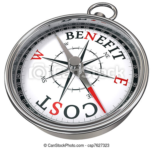 benefit cost concept compass - csp7627323