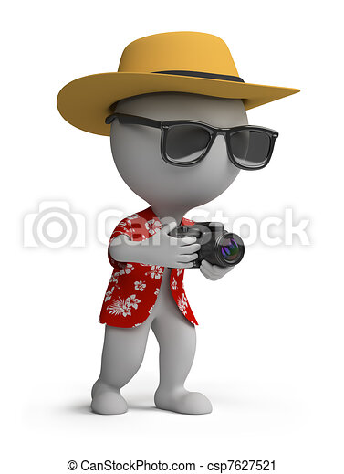 3d small people - tourist with a camera - csp7627521