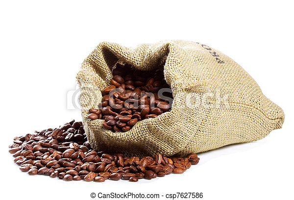 Coffee beans in canvas sack - csp7627586