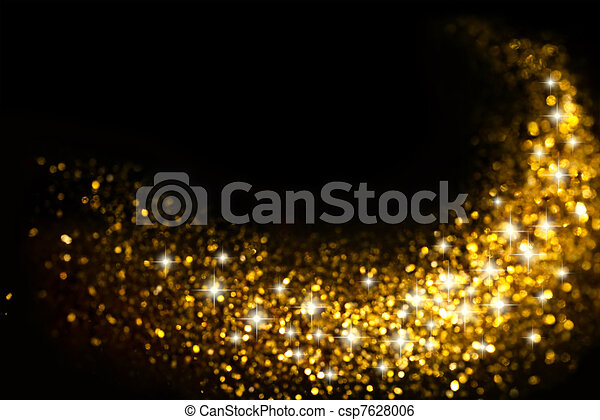 Golden Glitter Trail with Stars Background - csp7628006
