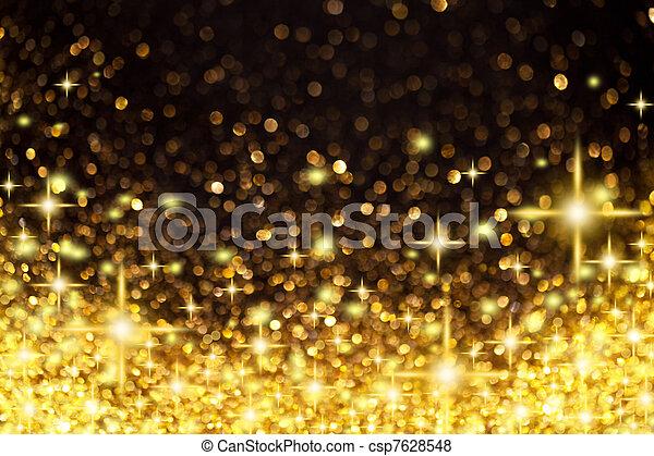 gouden, Kerstmis, achtergrond, sterretjes, Lichten - csp7628548