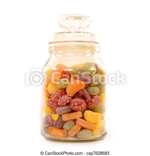 glass jar filled with candy - csp7628683