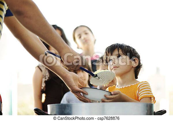 Hungry children in refugee camp, distribution of humanitarian food - csp7628876