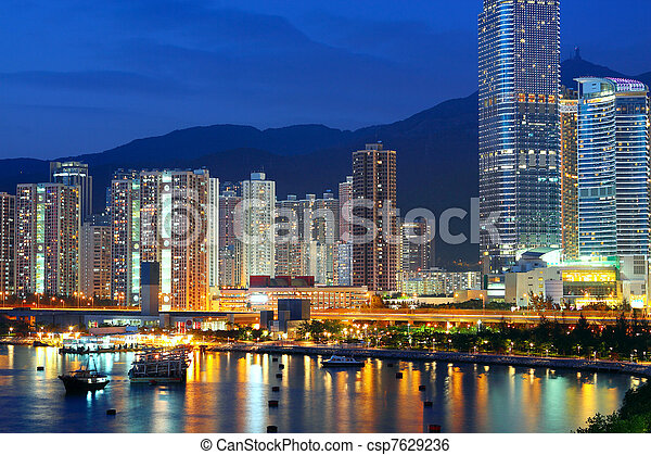 Twilight blue hour at hongkong downtown.  - csp7629236