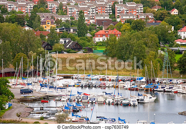 small swedish town in Stockholm suburb in overcast day - csp7630749