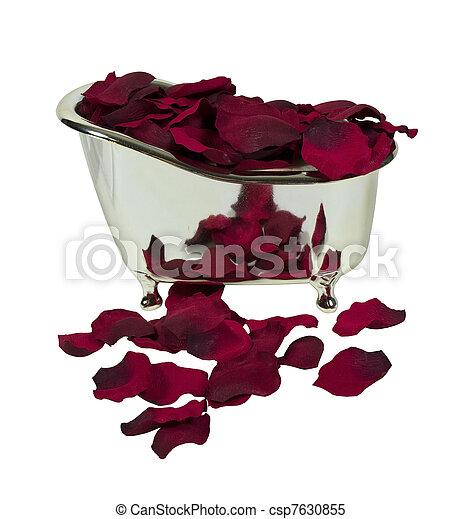 Bathtub Filled with Rose Petals - csp7630855