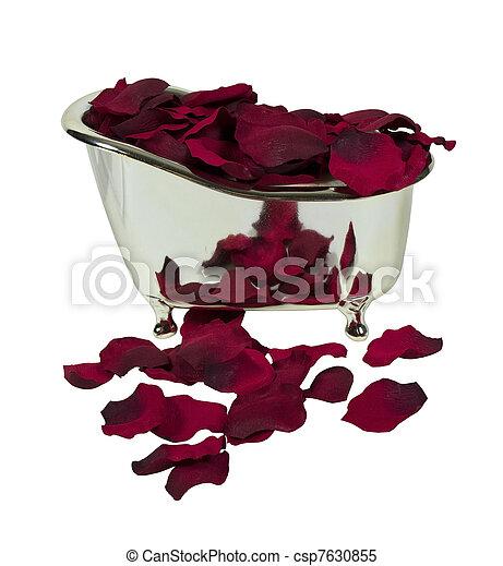 Bathtub Filled with Rose Petals - csp7630855