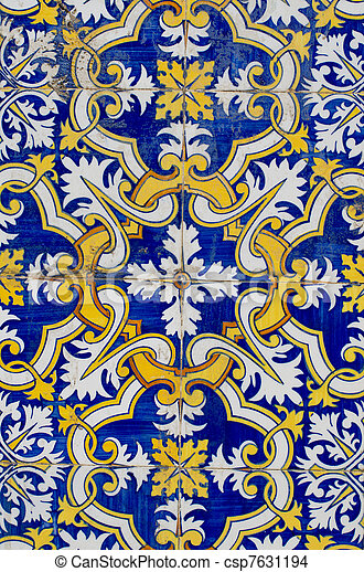 Traditional Portuguese glazed tiles - csp7631194