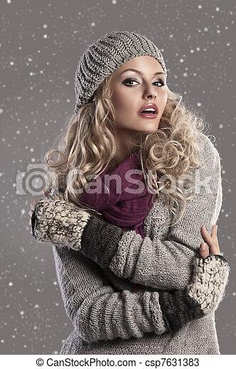 fashion blonde winter girl - csp7631383