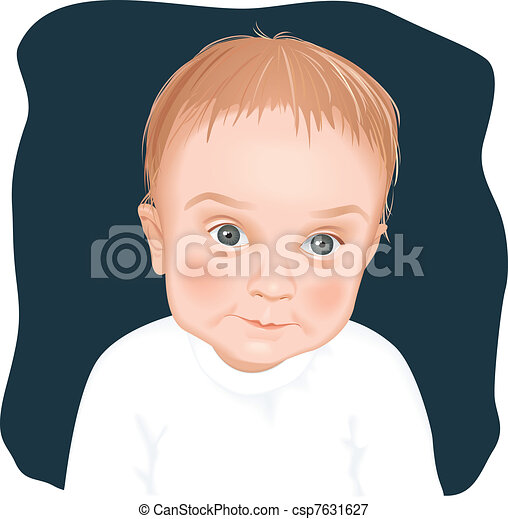 Adorable baby boy portrait - csp7631627
