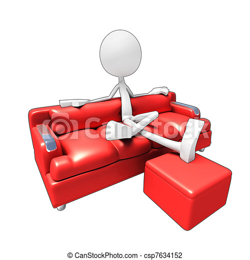 3D character watching Tv from sofa - csp7634152