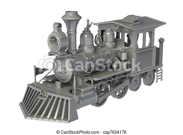 Old Train Drawing 3d Old Train Csp7634176