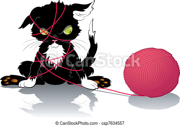 Kitten with a ball of thread - csp7634557