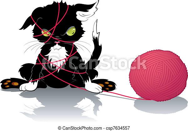 Kitten with a ball of thread - csp7634557