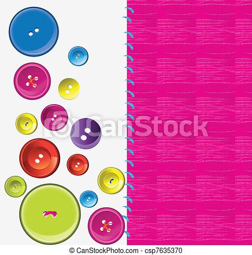 Needle, button, thread  - csp7635370